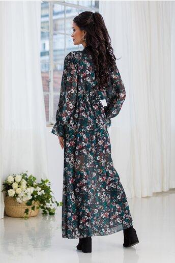 Rochie Marisa lunga din voal cu imprimeu floral verde