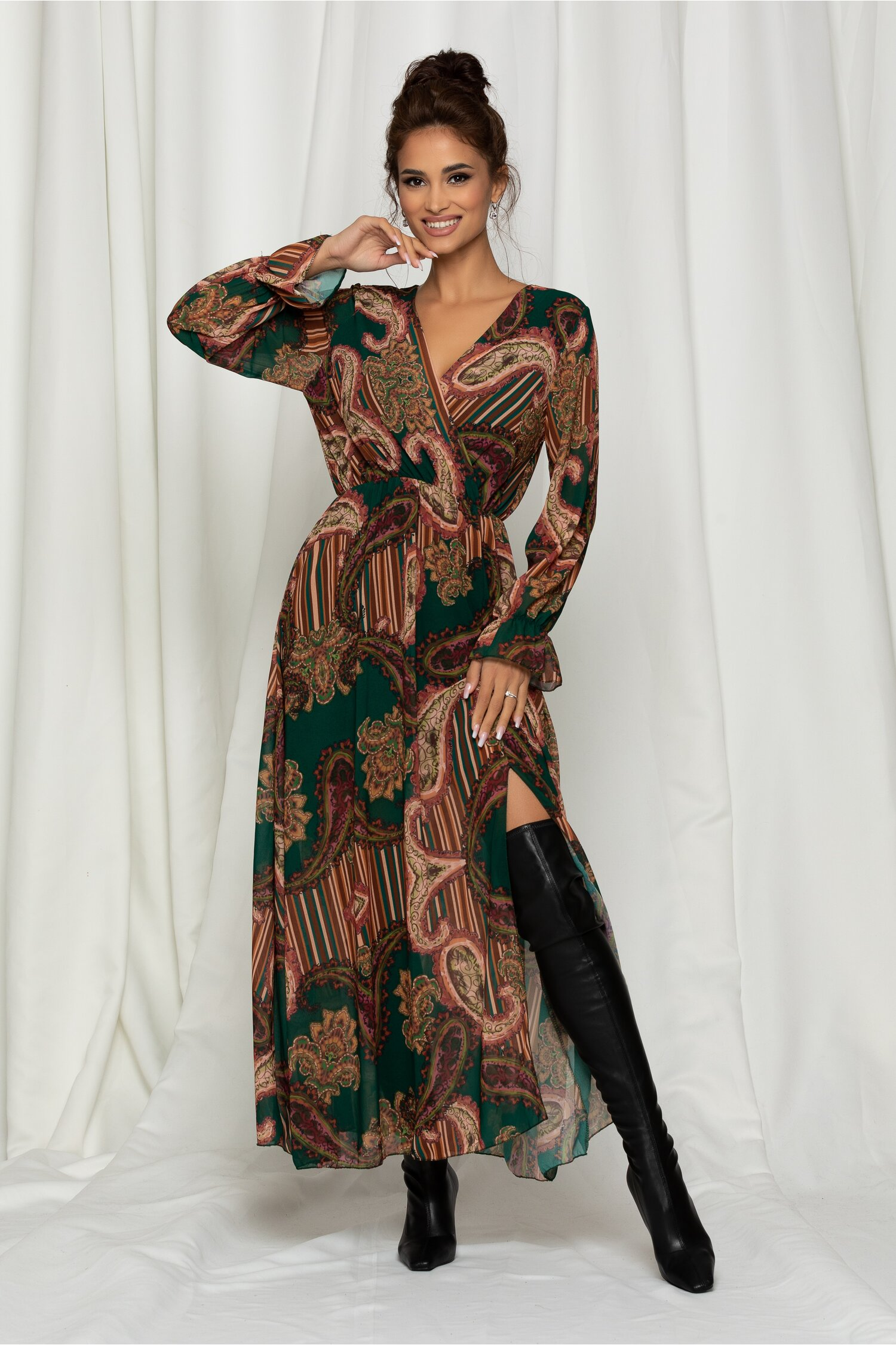 Rochie Marisa lunga verde din voal cu imprimeu