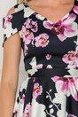 Rochie Marisa neagra asimetrica cu orhidee roz
