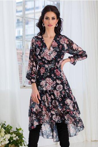 Rochie Marisa neagra cu imprimeu floral
