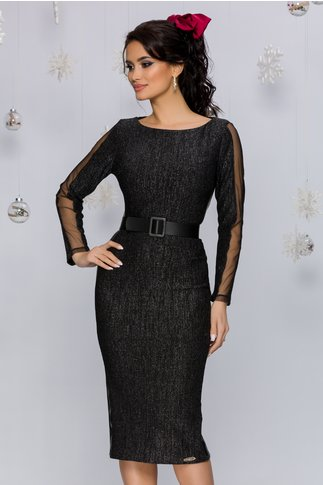 Rochie Marisa neagra cu insertii din piele ecologica si tull