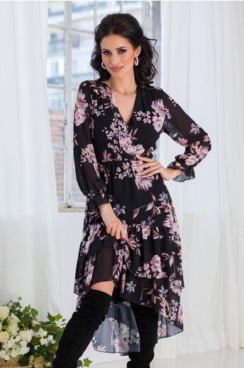 Rochie Marisa neagra cu trandafiri roz
