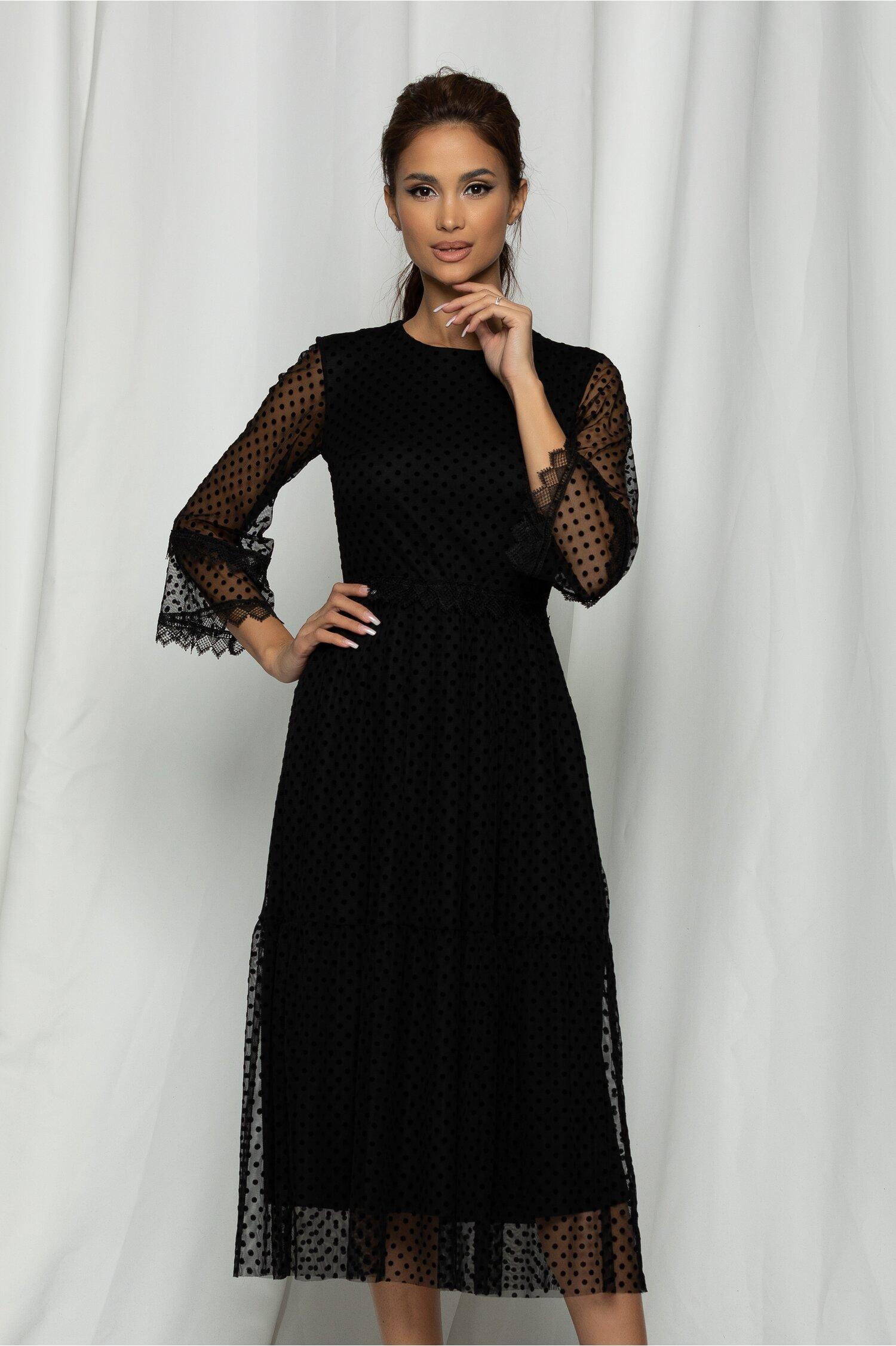 Rochie Marisa neagra din tull cu buline catifelate