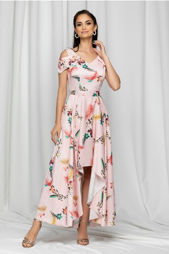 Rochie Marisa roz asimetrica cu imprimeu floral