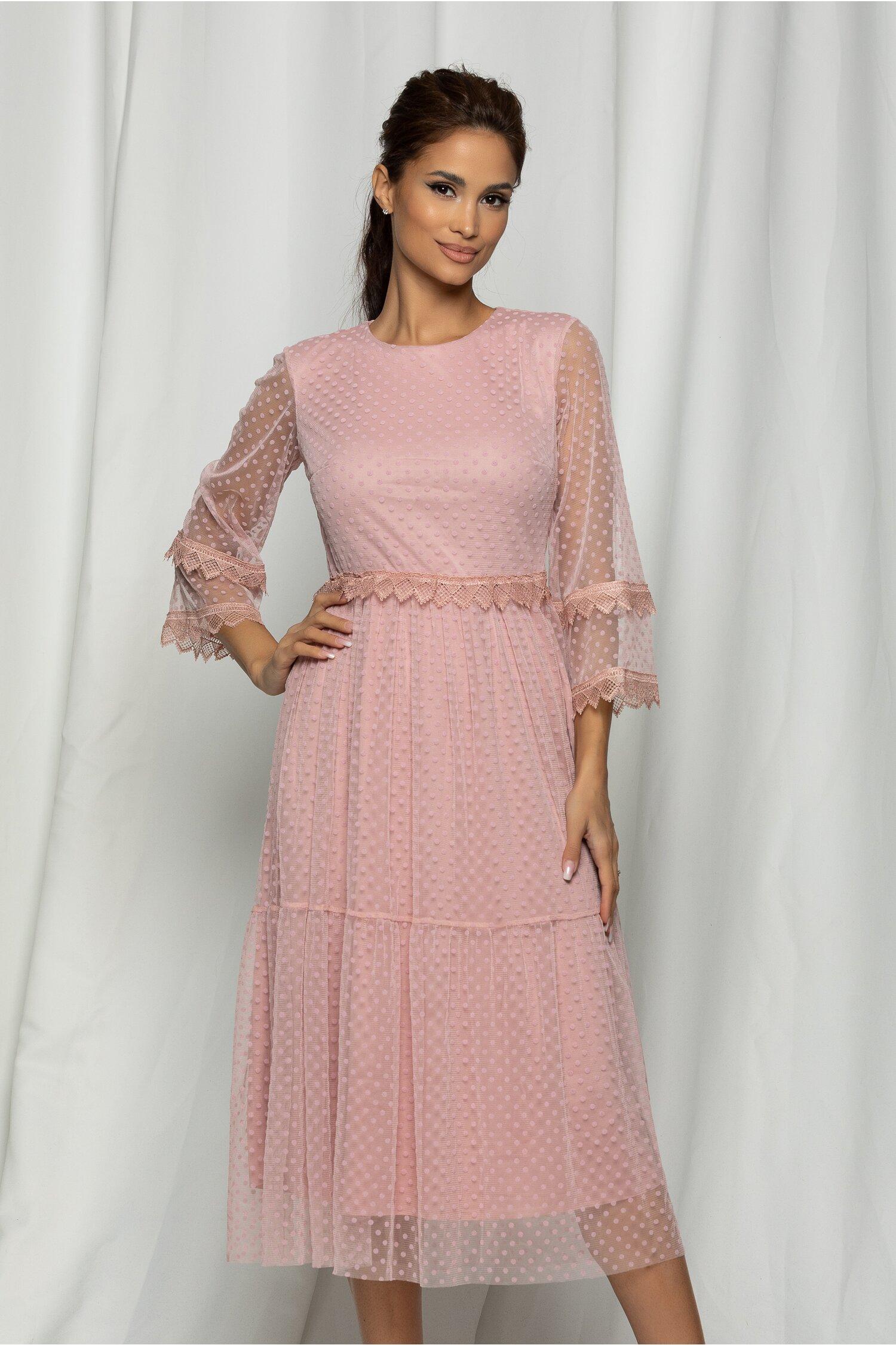 Rochie Marisa roz din tull cu buline catifelate