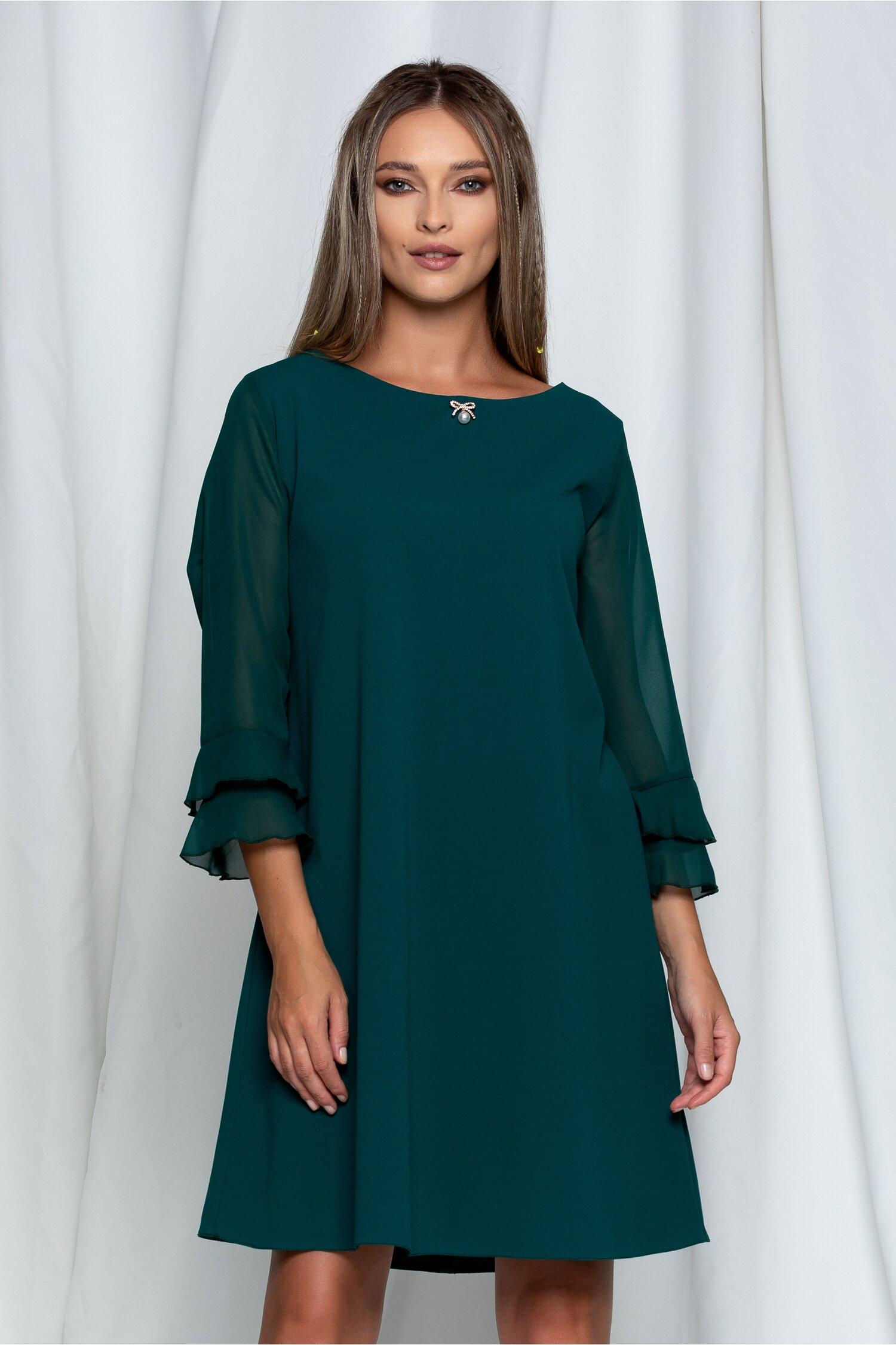 Rochie Marisa verde cu maneci din voal
