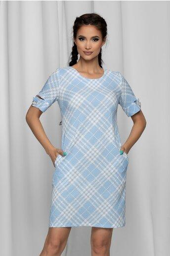 Rochie Marissa bleu cu decupaj la maneci si imprimeu geometric