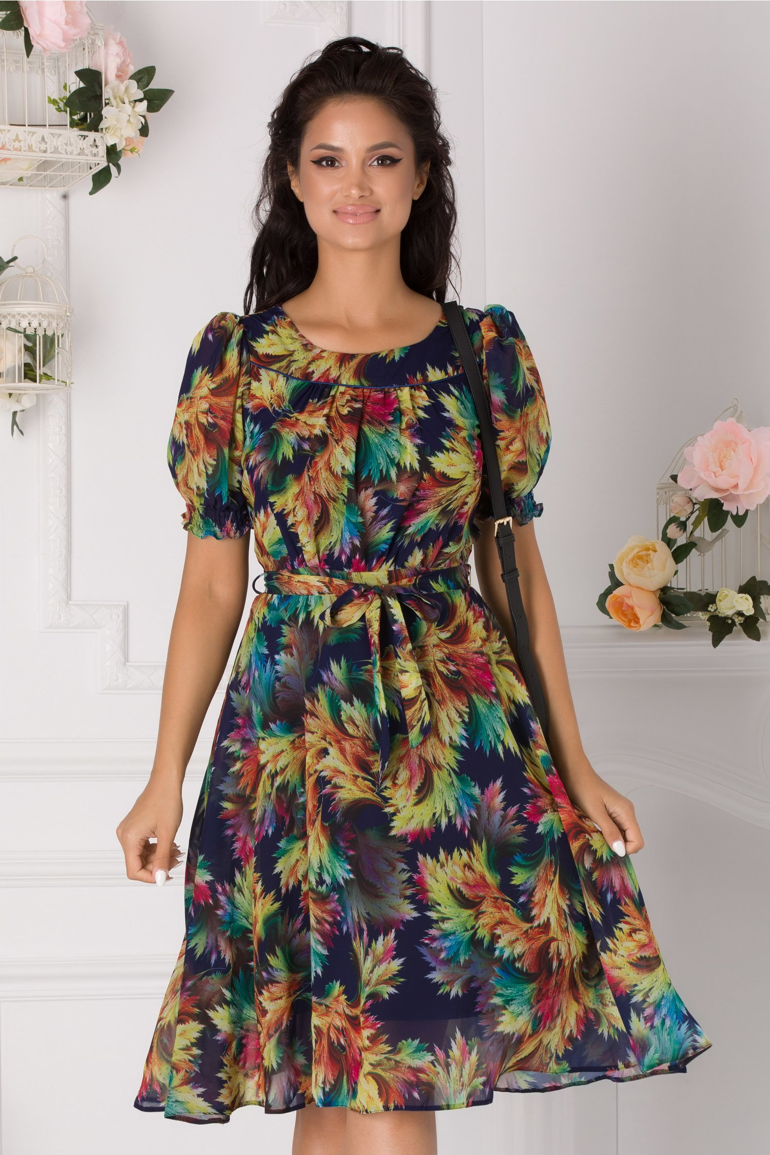 Rochie Marissa bleumarin cu imprimeu multicolor