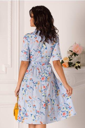 Rochie Marissa clos bleu cu decolteu petrecut si imprimeuri florale