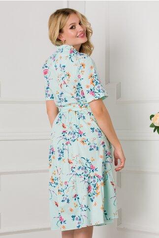 Rochie Marissa clos verde mint cu decolteu petrecut si imprimeuri florale
