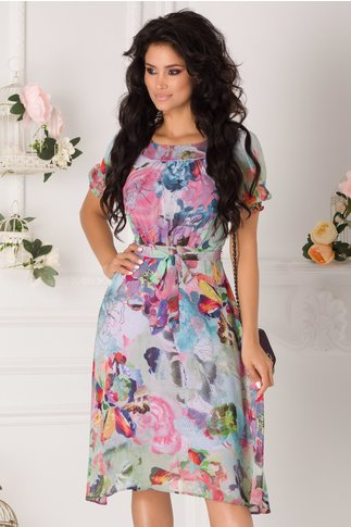 Rochie Marissa vernil cu imprimeu floral multicolor