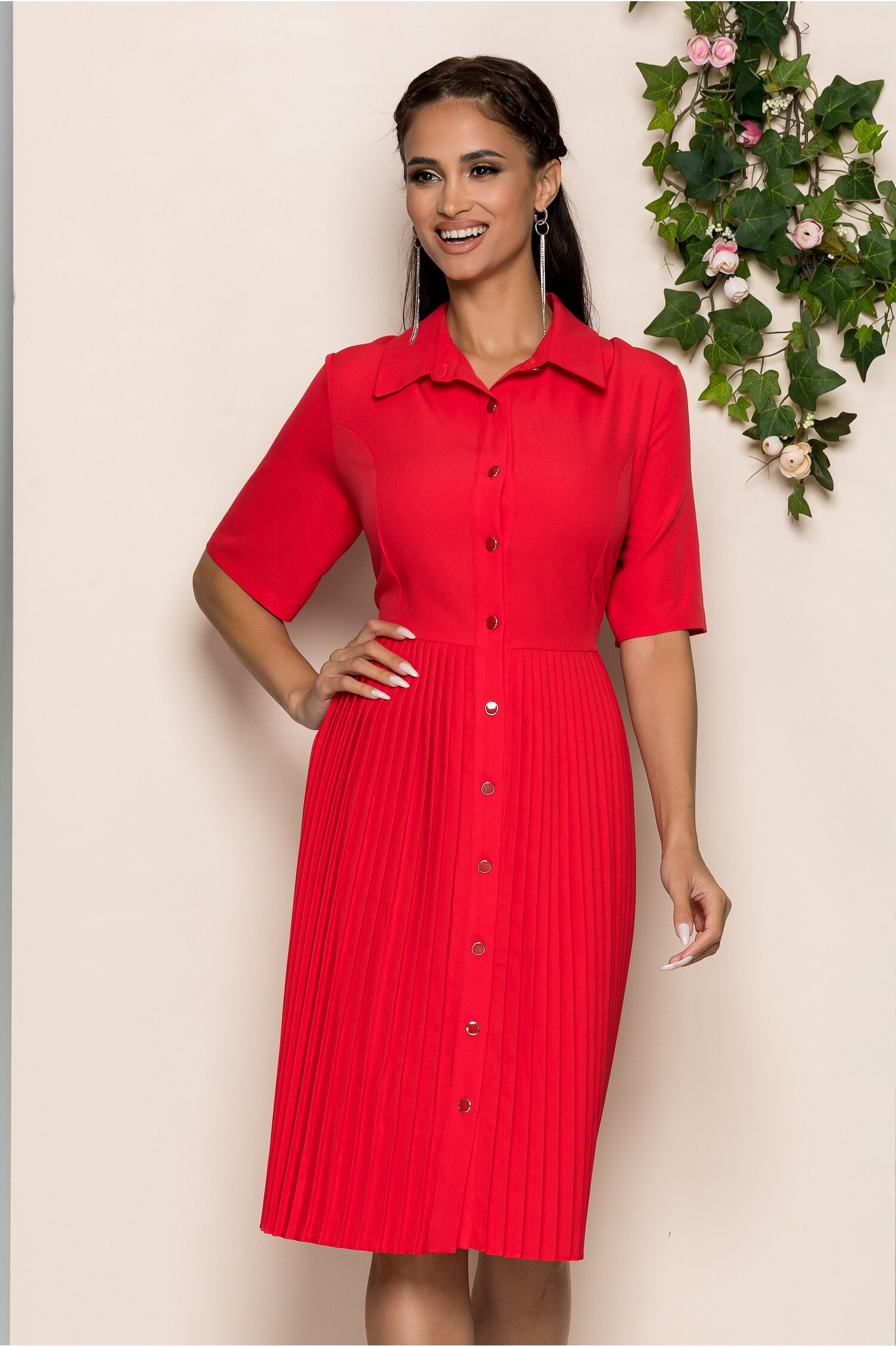 Rochie Marla rosie tip camasa cu maneci scurte si pliuri pe fusta