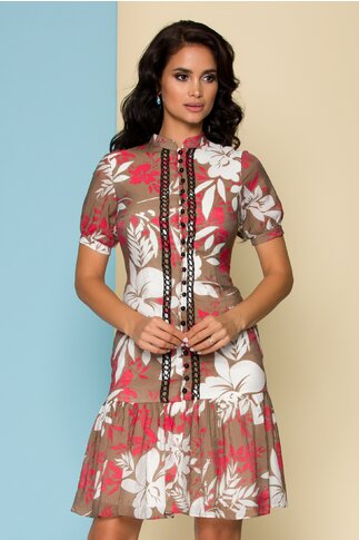 Rochie maro cu imprimeu floral si broderie la bust