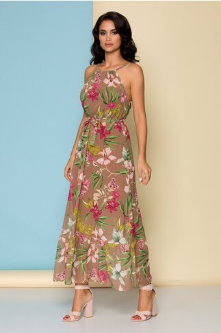 Rochie maro de vara cu volan la baza si imprimeu floral