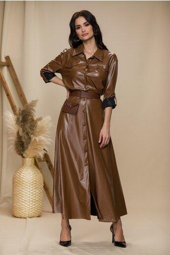 Rochie maro din piele ecologica lunga inchisa in fata cu nasturi