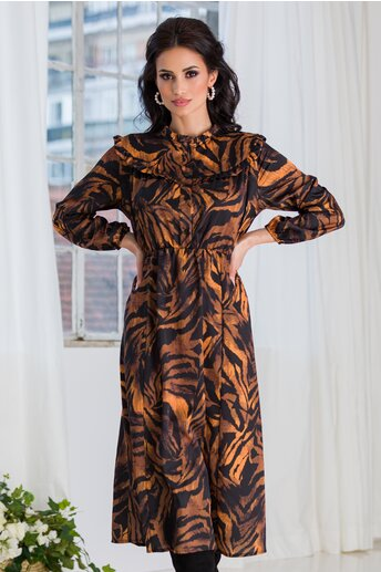 Rochie Marrie neagra cu imprimeuri orange si nasturi la bust