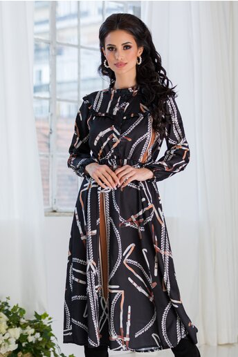 Rochie Marrie neagra cu imprimeuri si nasturi la bust