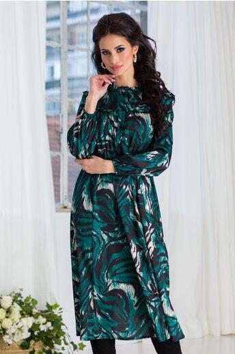 Rochie Marrie neagra cu imprimeuri verde si nasturi la bust