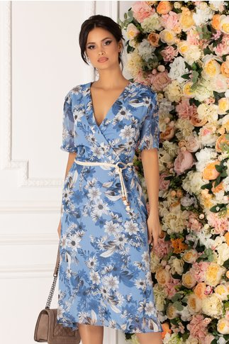 Rochie Marta bleu cu imprimeu floral si cordon in talie