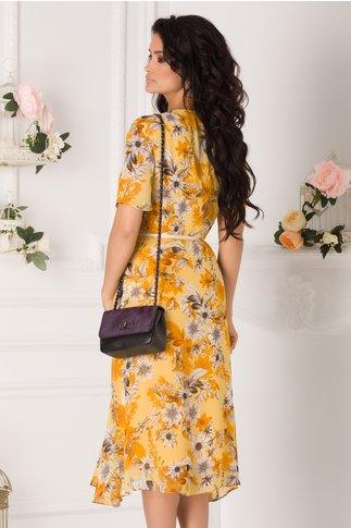 Rochie Marta galbena cu imprimeu floral si cordon in talie