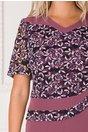 Rochie Marta lila cu peplum si dantela