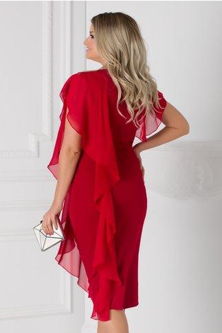 Rochie Marta rosie cu volane si aplicatie cu pietricele si margele la decolteu
