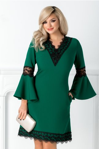 Rochie Marta verde cu dantela si margele