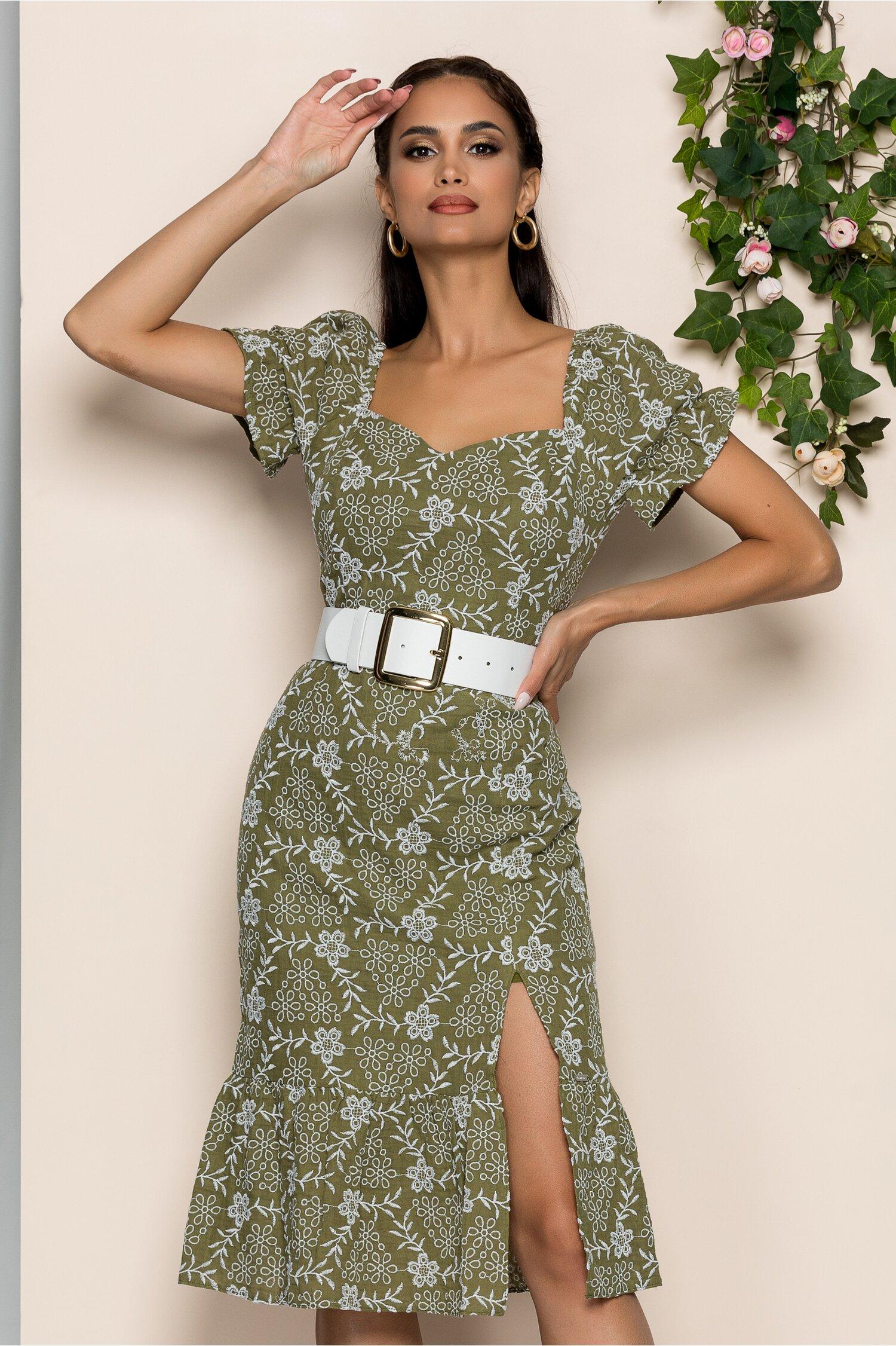 Rochie Marta verde olive cu maneci scurte usor bufante si crepeu pe picior