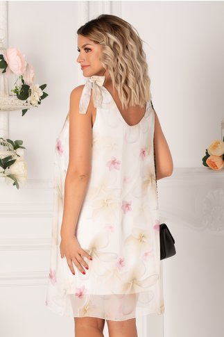 Rochie Mary alba cu imprimeuri florale maxi