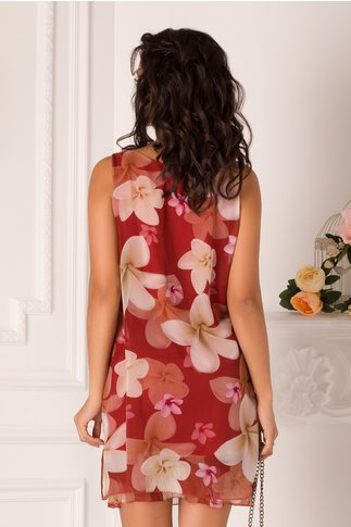 Rochie Mary bordo cu imprimeuri florale bej