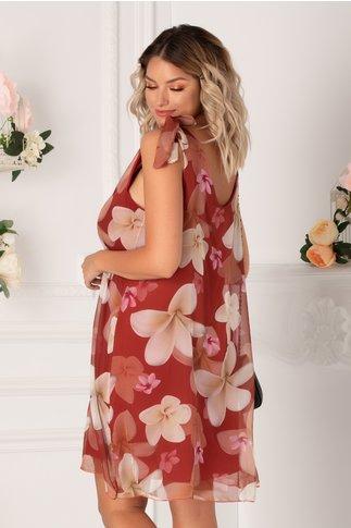 Rochie Mary bordo cu imprimeuri florale maxi