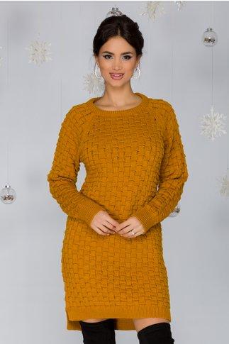 Rochie Mary galben mustar tricotata