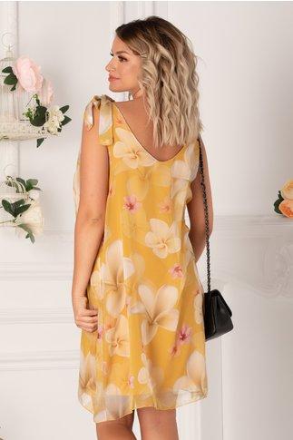 Rochie Mary galbena cu imprimeuri florale maxi