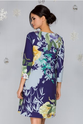 Rochie Mary indigo cu imprimeu floral multicolor