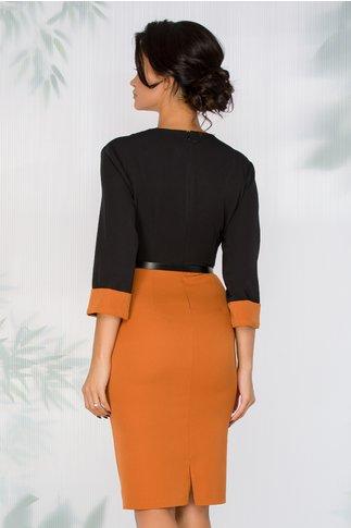 Rochie Mary negru cu maro si curea in talie