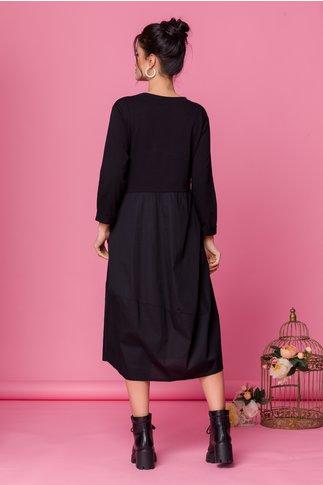 Rochie Mary negru si maro cu imprimeu text