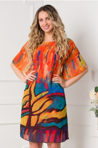 Rochie Mary orange cu imprimeuri colorate