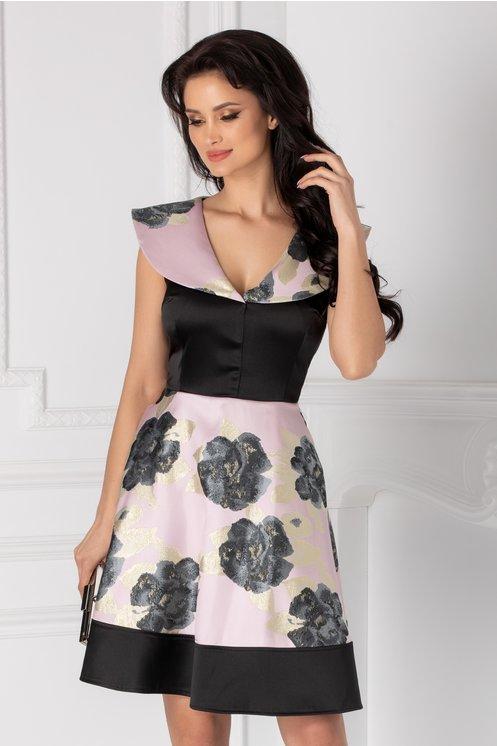 Rochie Mary roz pal cu negru si imprimeu floral