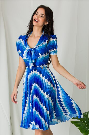 Rochie Masha cu imprimeuri albastre si fusta plisata