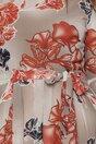 Rochie Masha gri din voal cu imprimeu floral maro