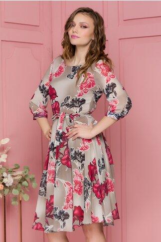 Rochie Masha gri din voal cu imprimeu floral roz