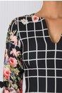 Rochie Masha neagra cu patratele si imprimeu floral