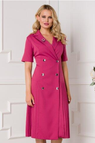 Rochie Masha roz inchis stil sacou cu maneci scurte