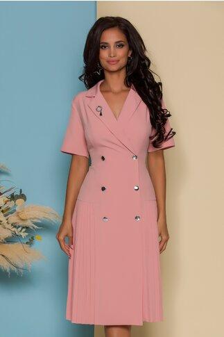 Rochie Masha roz pal stil sacou cu maneci scurte