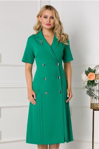 Rochie Masha verde stil sacou cu maneci scurte