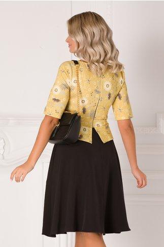 Rochie Matilda negru cu galben si imprimeu floral