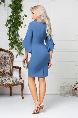 Rochie Maura bleu cu aplicatii elegante