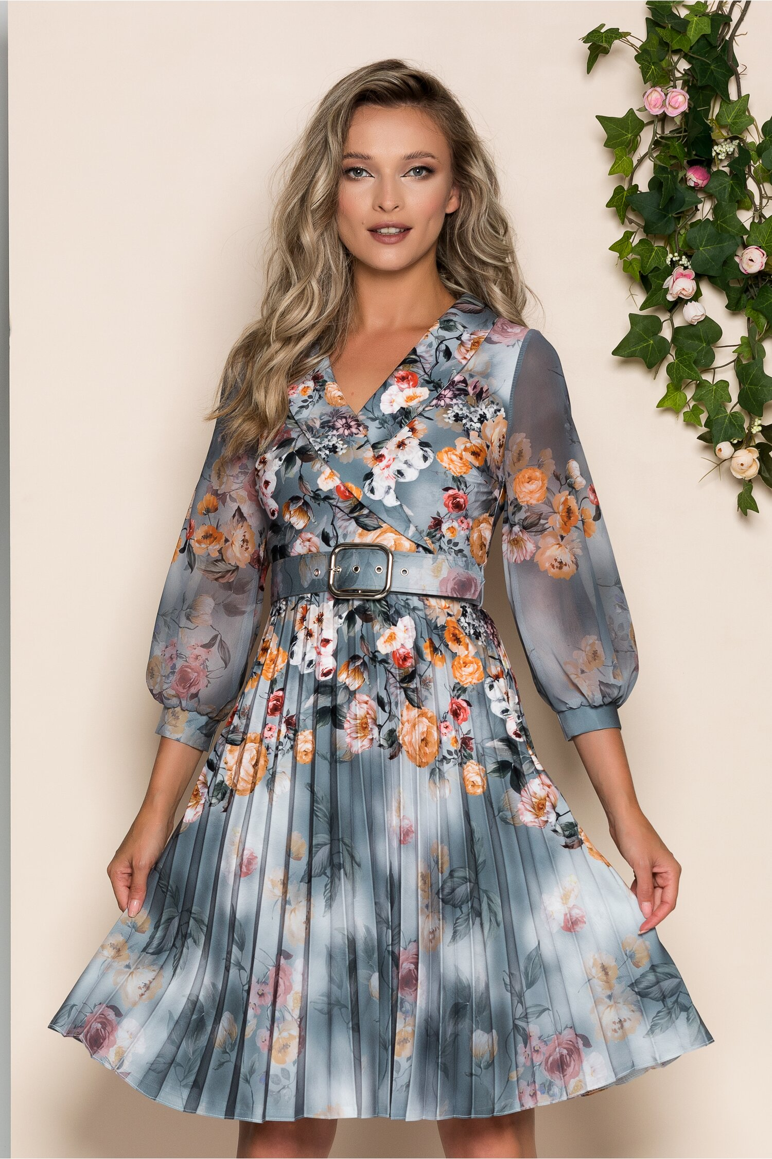 Rochie Maxine albastru petrol cu imprimeu floral orange si guler tip sal