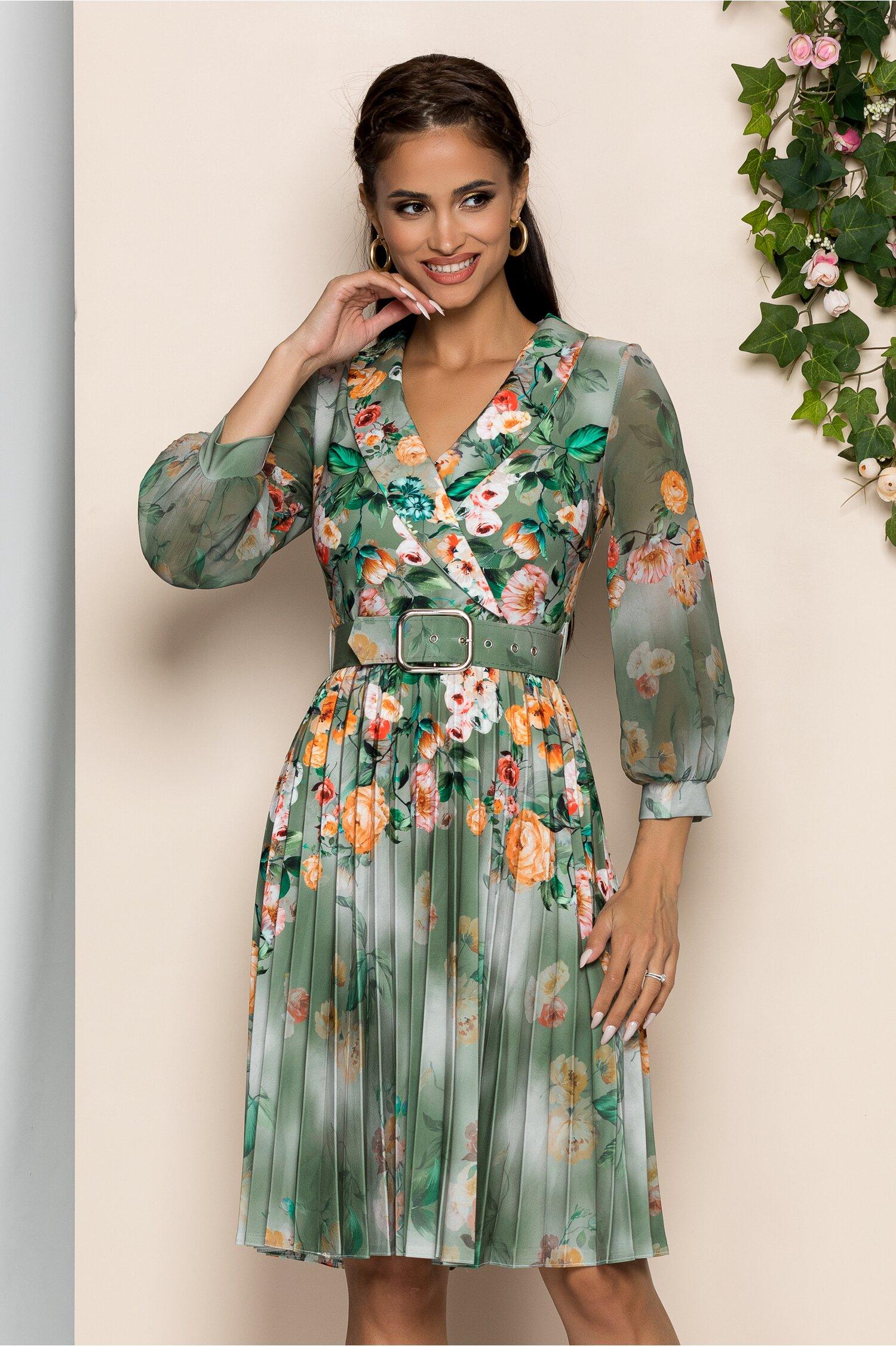 Rochie Maxine verde cu imprimeu floral orange si guler tip sal