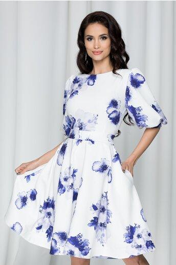 Rochie MBG alba cu imprimeu floral albastru cu maneci bufante
